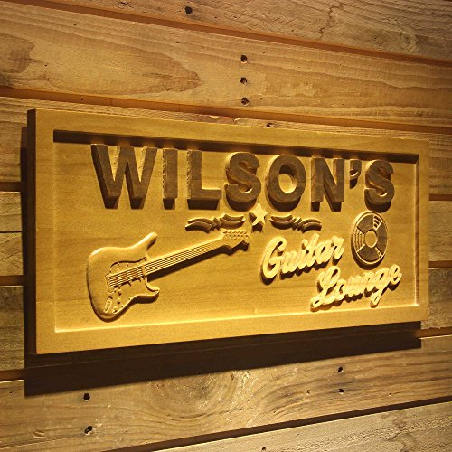 ADVPRO wpa0057 Name Personalized Guitar Lounge Music Band Room Man Cave Den Beer Bar 3D Engraved Wooden Sign - Medium 18.25