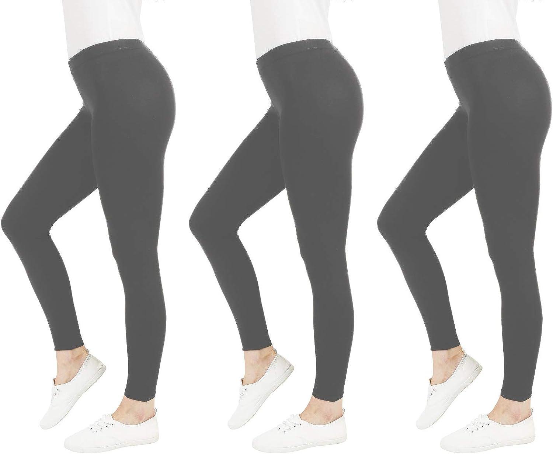 Modern and Versatile FM London 3-Pack Opaque Women/'s Leggings Slim