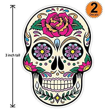 3 inch mexican sugar skull phone sticker version 20 día de los muertos day