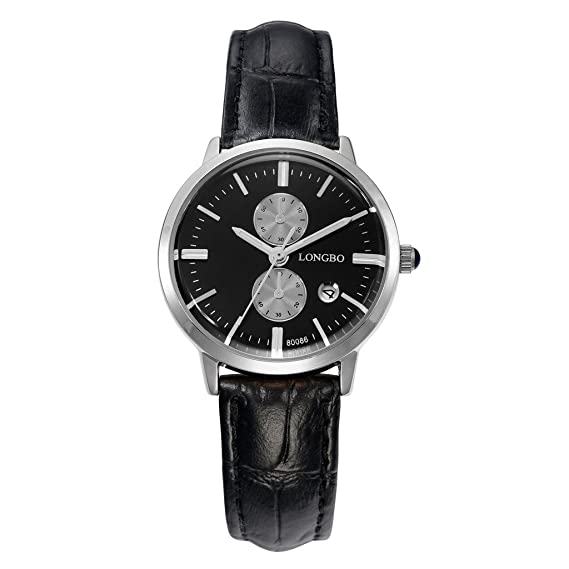 Longbo MUJER lujo negro Funda de piel banda par reloj vestido de negocios Casual relojes esfera