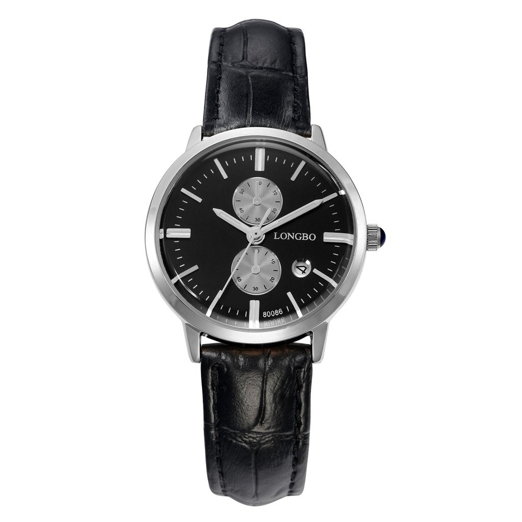 LONGBO Womens Luxury Black Leather Band Couple Watch Casual Business Dress Watches Black Dial Silver Case Analog Quartz Wrist Couple Watch