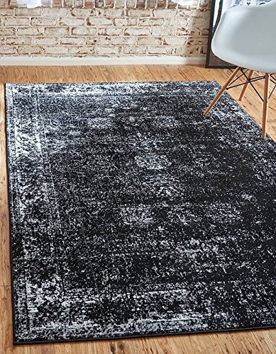 Unique Loom Sofia Collection Black 8 x 10 Area Rug (8' x 10')