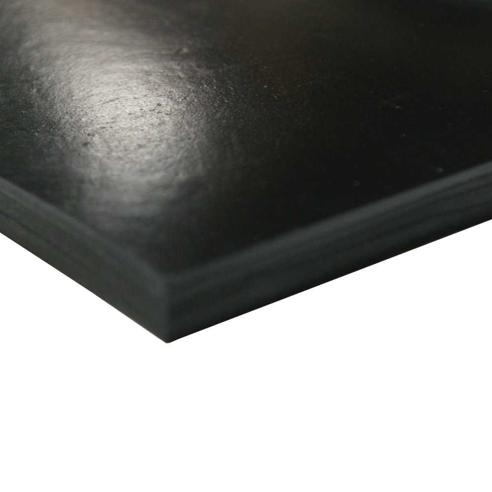 Neoprene Sheet, 70A Durometer, Smooth Finish, No Backing, Black, 0.125'' Thickness, 36'' Width, 24'' Length