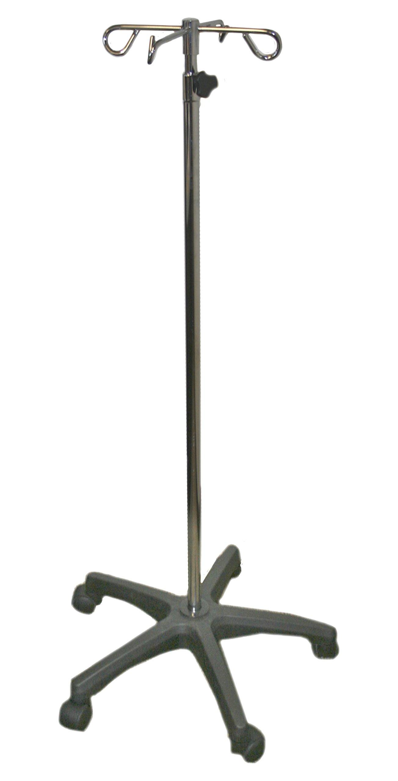 IV Pole with Quad Ram Hook and 5-Leg Polymer Base