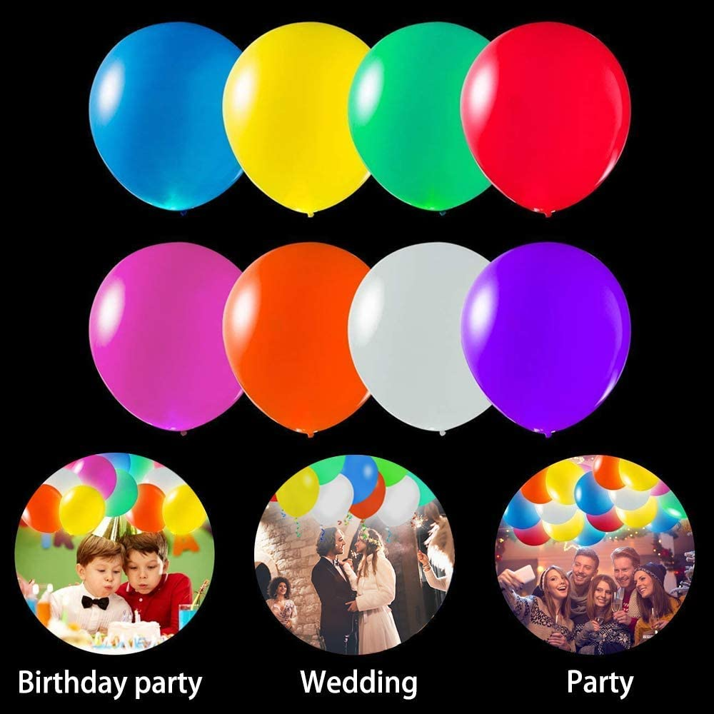 POKONBOY 50 Pack LED Light Up Balloons, Glow in the Dark Party Supplies LED Balloons Neon Party Supplies for Birthday Wedding Festival Easter Decorations (Mixed Color): Toys & Games