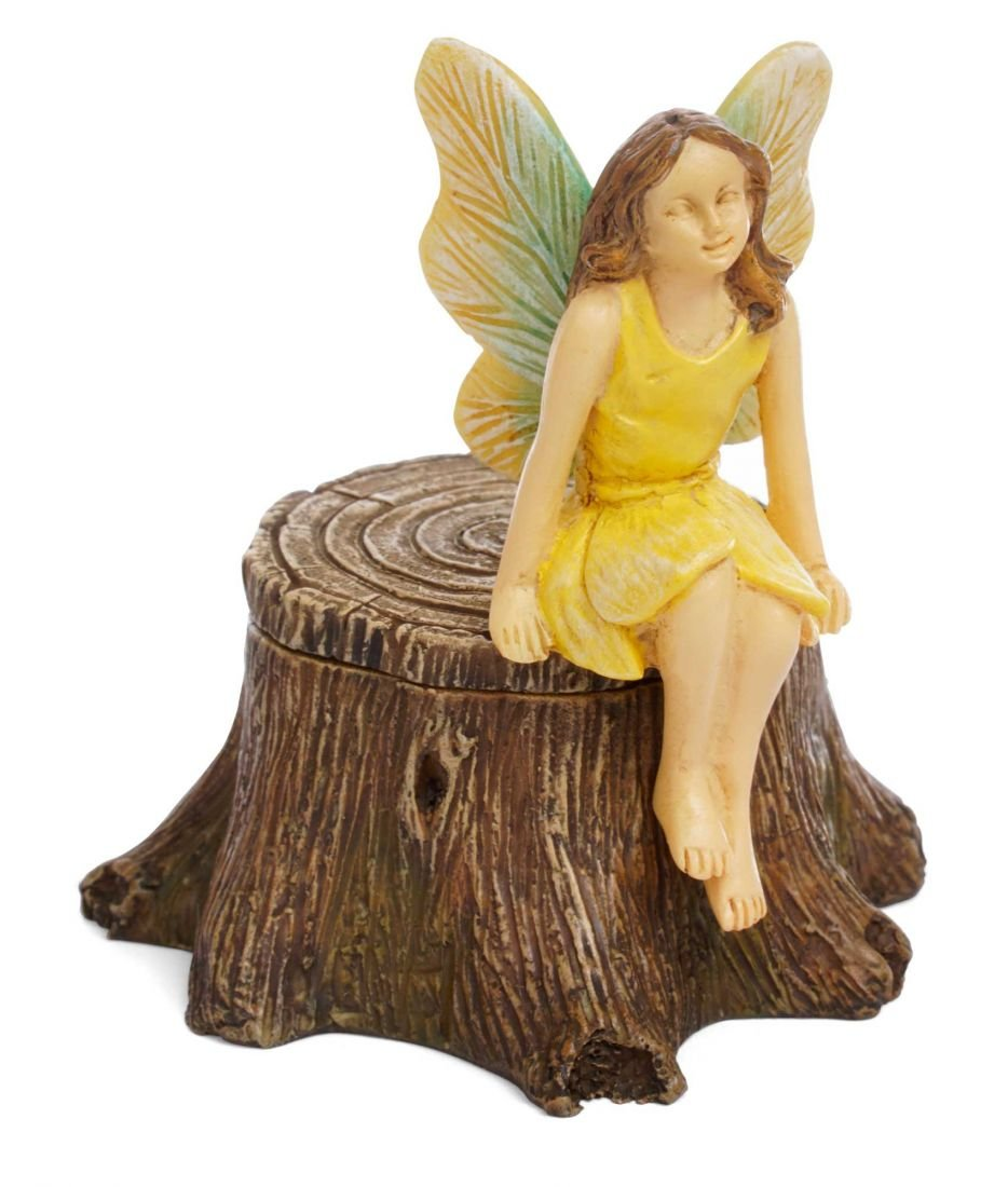 Marshall Home and Garden Secret Fairy Stump Floral Yellow 8 Inch Resin Stone Outdoor Statue Key Holder
