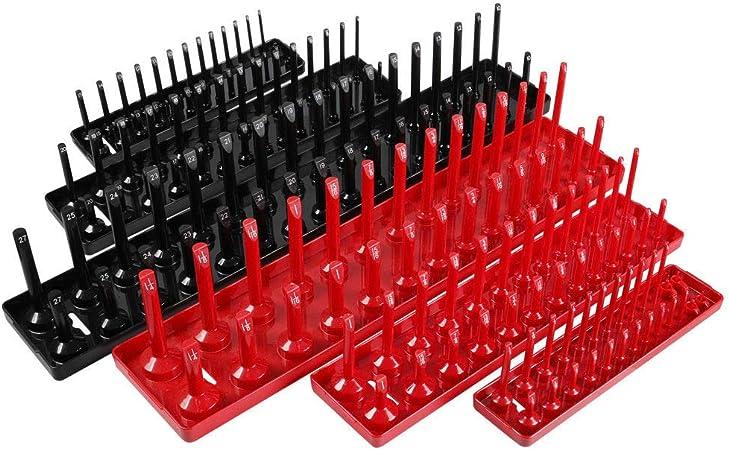 "6pcs 1//4/"" 3//8/"" 1//2/"" Metric SAE Socket Tray Rack Holder Tool Organizer Supply Set"
