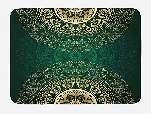 Hunter Green Mat - Lunarable Hunter Green Bath Mat, Retro Oriental Mandala Style Floral Circle Antique Arabesque Culture Swirls Pattern, Plush Bathroom Decor Mat with Non Slip Backing, 29.5 W X 17.5 W Inches, Gold