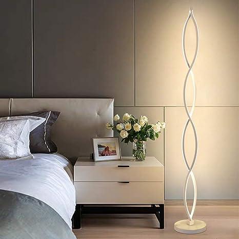Lámpara de Pie LED Regulable Twist Wave - ELINKUME Diseño Moderno único Iluminación Blanca Cálida 30W Brightest, Interruptor Regulable con ...