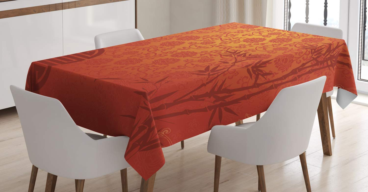 Ambesonne Asian Tablecloth, Eastern Ethnic Scenery with Branches Traditional Chinese Symbols Print, Dining Room Kitchen Rectangular Table Cover, 60 W X 90 L inches, Pale Orange Ruby Burgundy