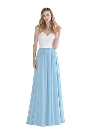 Vintage Lace Top Two Tone Long Chiffon Bridesmaid Dress at Amazon ...