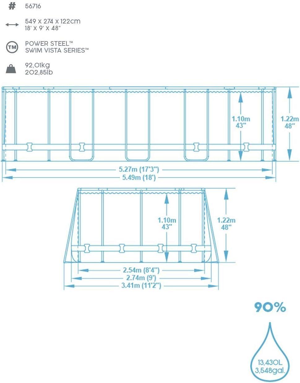Bestway 56716 Power Steel Deluxe Series-Juego de Piscina Ovalada ...