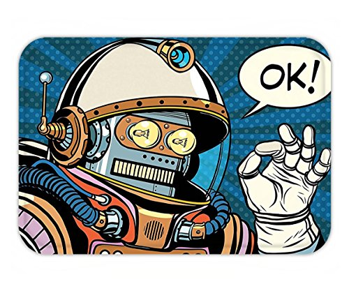 Minicoso Doormat Modern Decor Futuristic Comics Super Heros Like Robot in a Spacesuit with OK Quote Artwork - Ok Woodland