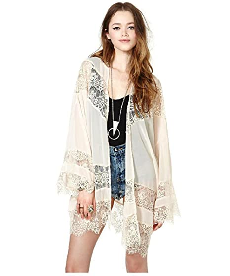 c7a16c63441 Gypsy Women Vintage Hippie Boho Kimono Cardigan Lace Crochet Jacket Tops  Blouse at Amazon Women s Clothing store