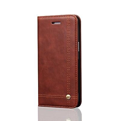 Funda Samsung Galaxy S7 Carcasa,Slim Case de Estilo Billetera Carcasa Libro de Cuero Cierre Magnético,(S7-443- Marrón oscuro)