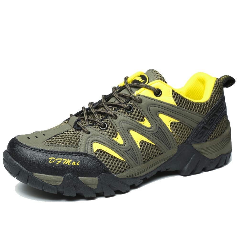 Hombres Adultos Excursionismo Zapatos Cuero Al Aire Libre Trekking De Poca Altura Profesional Antideslizante Respirable Sneaker Para Caminar Con Cordones Zapatos Verde Gris Marrón,B-EU39=UK5.5=Labelsize39 EU39=UK5.5=Labelsize39|B