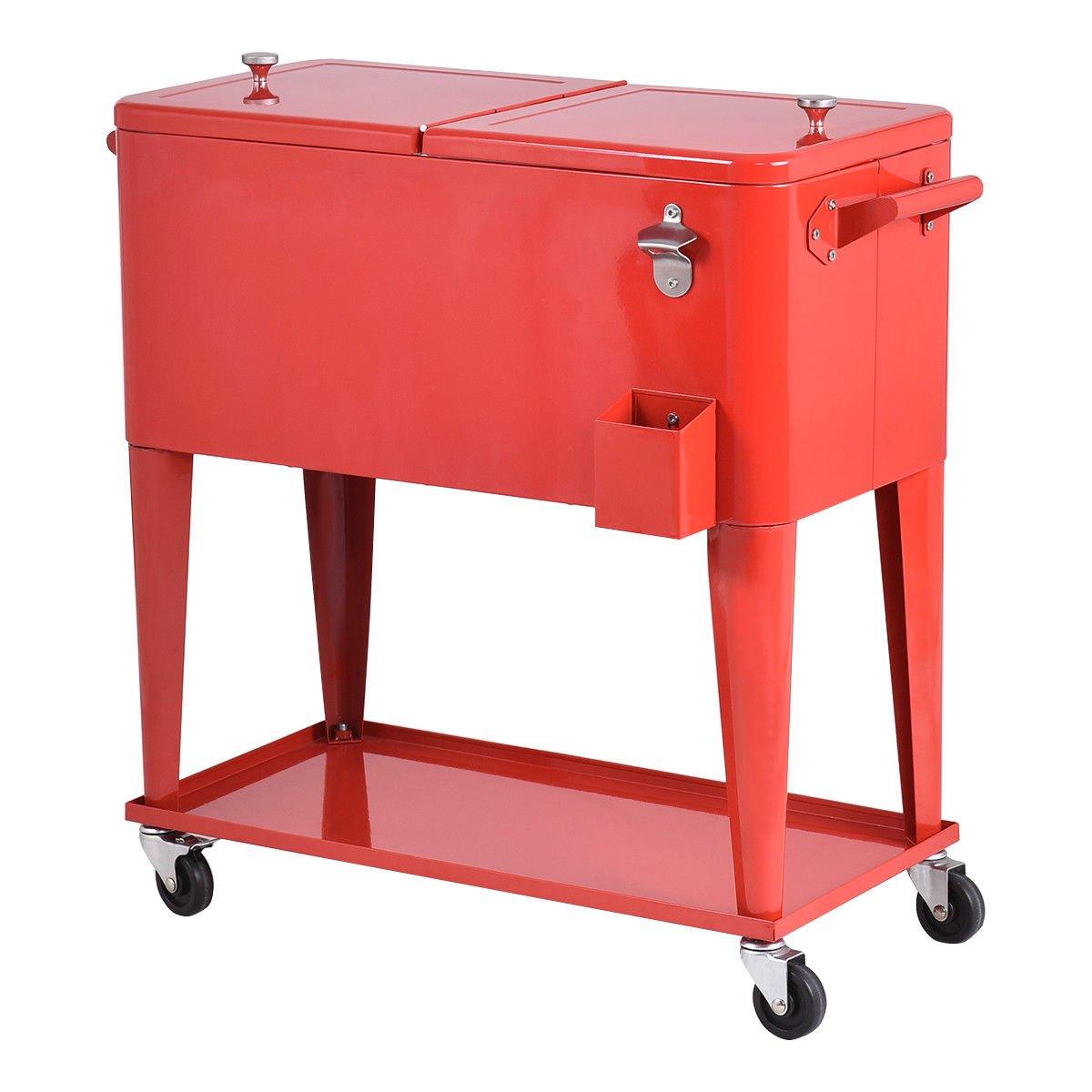 Giantex Kühler Bierwagen für den Außenbereich, für Partys, Stahlbar, Bistro