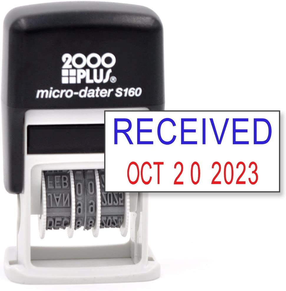 Cosco 2000 Plus Self-Inking Rubber Date Office Stamp with Received Phrase Blue Ink & Date RED Ink (Micro-Dater 160), 12-Year Band