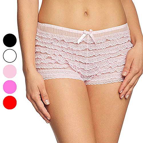 Chris&Je Ruffle Panties Dance Bloomers W/Bows for Sissy Victorian,Pink
