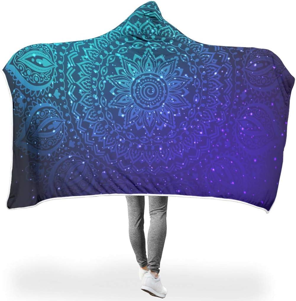 UAright Mandala DesignName Hooded Blanket Ultra Soft Oversized Mandala Throw Blankets Coral Fleece Blanket Hood Poncho Gift for Children White 50x60 inch