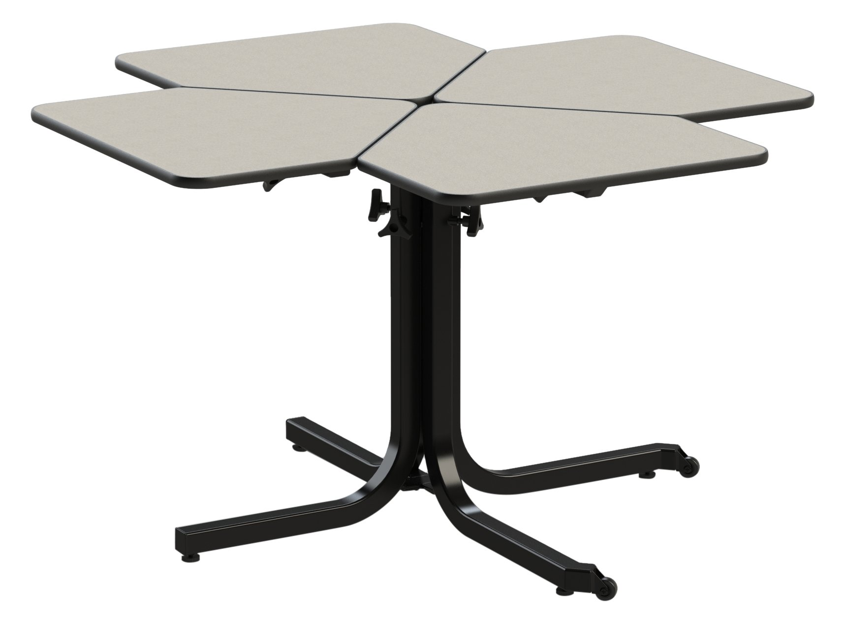 Wheel chair height adjustable table (4 person) single pedistal