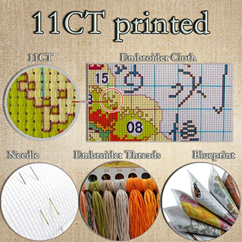 - Zamtac Morning Glory Flower Counted Cross Stitch 11CT 14CT DIY Needlework DMC Cross Stitch Kits for Embroidery Home Decor Crafts - (Color: 11CT Printed)