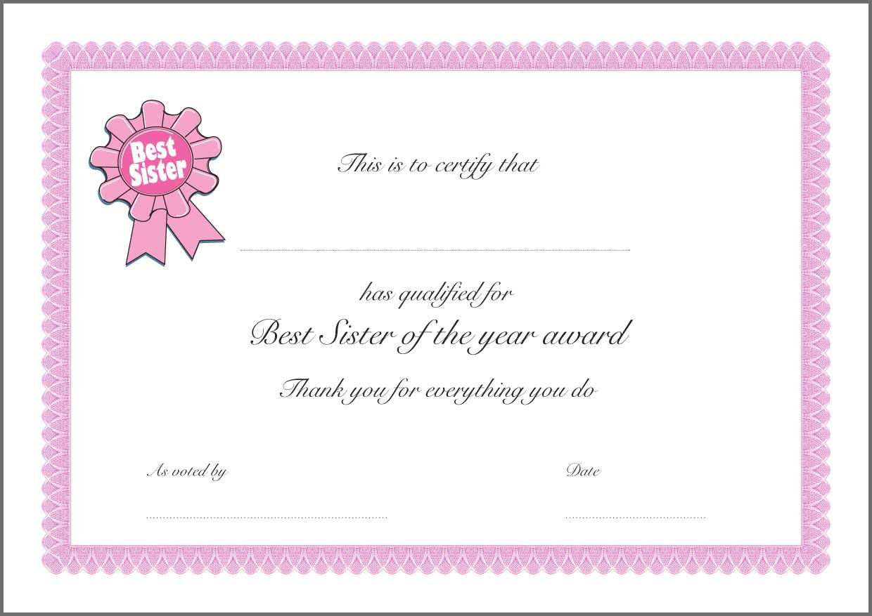 a homemade best certificate birthday christmas mother s day  a4 homemade best certificate birthday christmas mother s day father s day end of year gift thank you present best sister not laminated