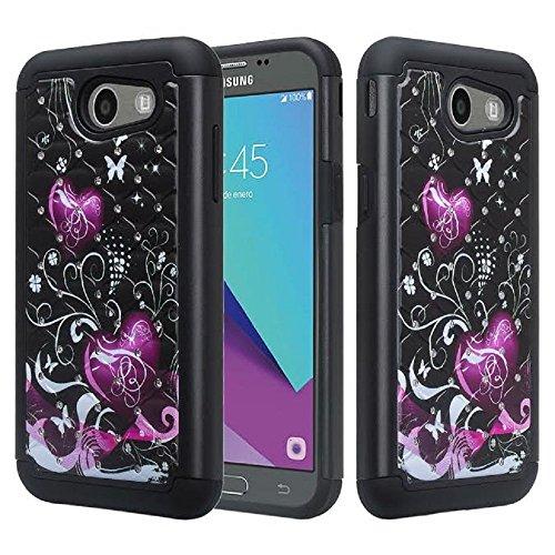 Samsung Galaxy J7 V Case, Galaxy J7 2017 Case, Galaxy J7 Sky Pro Case, Galaxy J7 Perx Case, SOGA [Jewel Gem Series] Diamond Bling Protective Case for Samsung Galaxy J7V 2017 - Black Butterfly Heart