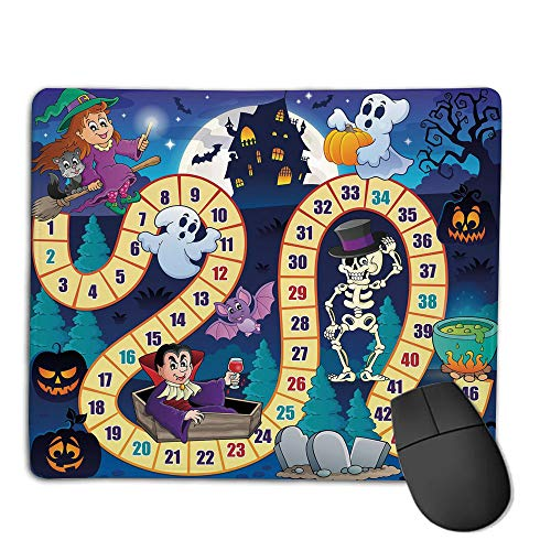 Mouse Pad Non-Slip Thick Rubber Large MousepadBoard Game,Halloween Theme Symbols Happy Witch Girl Vampire Ghost Pumpkins Happy Comic,Multicolor,Suitable for Notebook Desktop Computers,Mouse Pad wat -
