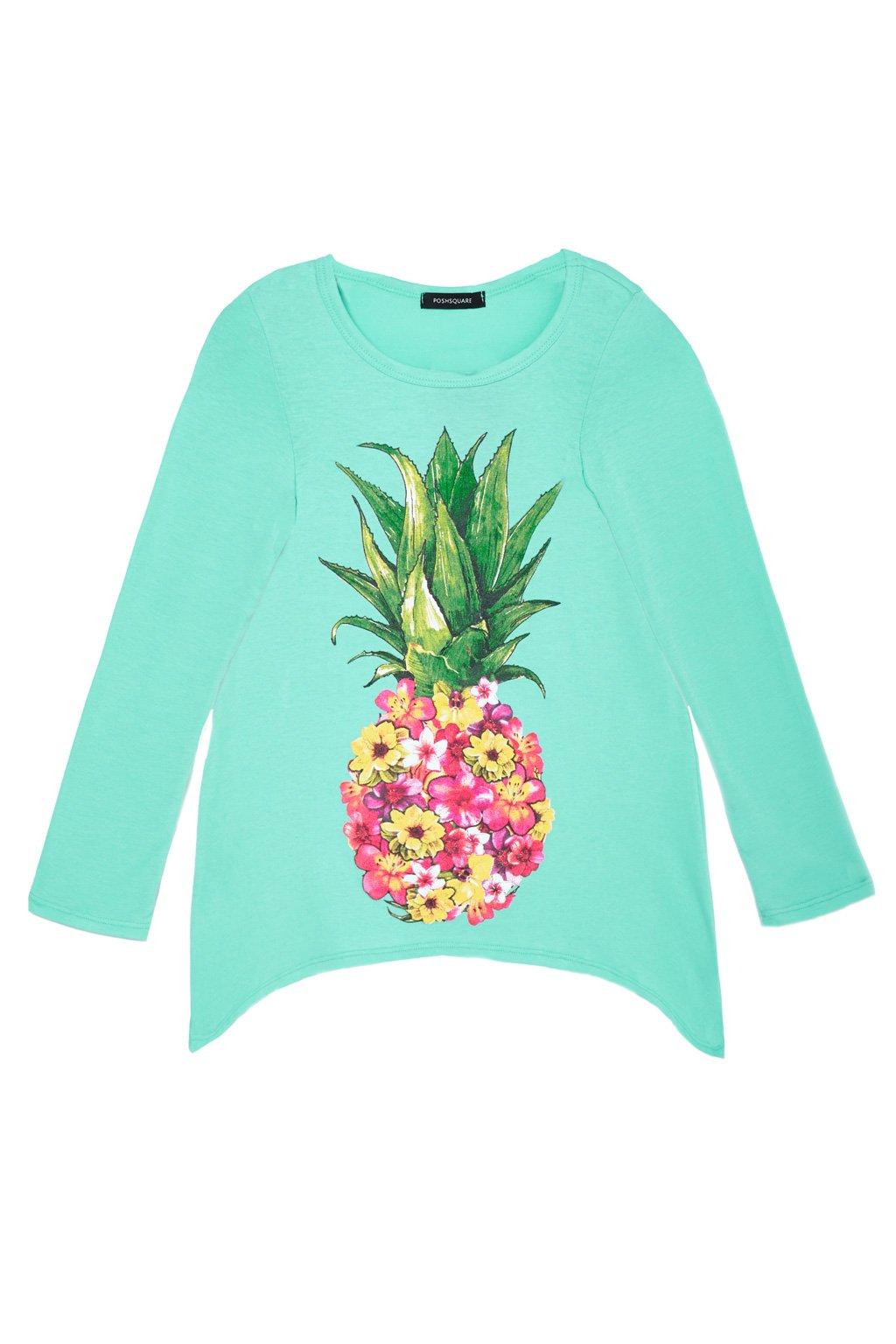 Big Girls Long Sleeve Love Heart Pineapple Graphic Handkerchief Tee Top USA Aqua Floral M by Poshsquare (Image #1)