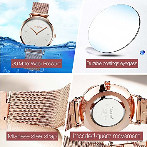 Ultra Thin Watches for Women,Rose Gold Ladies Watch Water Resistant Mesh Band Luxury Sports Womens Watches Analog Japanese Quartz Wrist Watches Female Watches on Sale,Black Dial,Big Face,AESOP Brand by XIN LINGYU (Image #7)