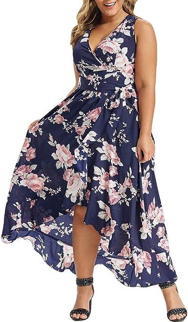 Vestido de Flores de Talla Grande para Mujer Vestido Largo sin ...