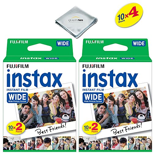 Fujifilm instax Wide Instant Film 4 Pack (40 Exposures) for Fujifilm instax Wide 300, 200, and 210 cameras (Camera Speed Shutter)