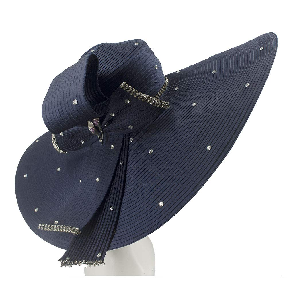 Kueeni Women Hats Hot Red Color Church Hats Lady Party Wear Fedoras Hats (Navy-2)