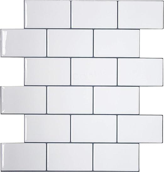 "1 Sheet Sample Item# 91010838,10/"" X 10/"" Subway White Crystiles Peel and Stick Self-Adhesive Vinyl Wall Tiles"