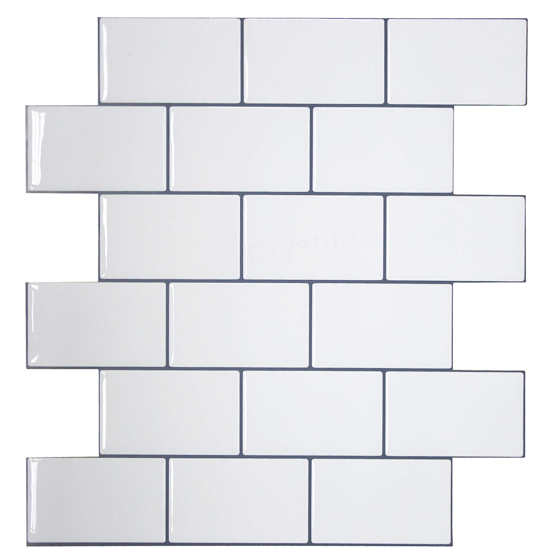 Crystiles 12''x12'' Subway White Vinyl Peel and Stick Backsplash Tile, Pro Series Thicker Version, 4-Sheet Pack