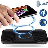 ACTOPP Caricatore Wireless 3 Bobine, Caricabatterie Wireless Senza Fili Qi Fast Charge da 10W con Indicatore LED per iPhone Samsung da Tavolo New 2019