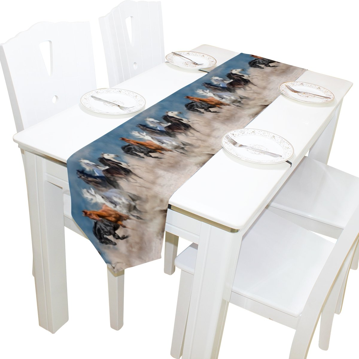 Naanle Animal Horse Long Table Runner 13x70 Inch, Horse Herd Running in Desert Storm Polyester Table Cloth Runner for Kitchen Wedding Party Decoration