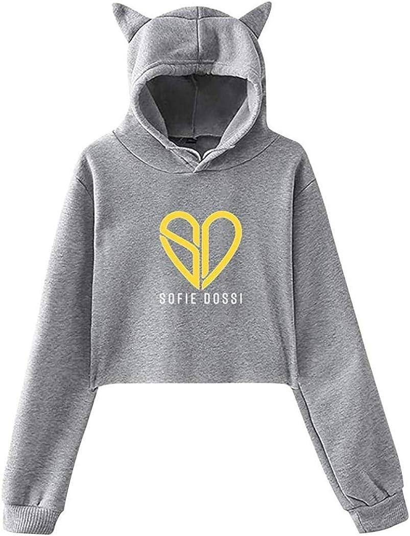 BBBBA Girls Bare Midriff Sofie/_Dossi Logo Hoodies Sweatshirt Cat Ear Crop Tops Pullover