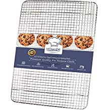 HOMIZE 100% Stainless Steel Wire Cooling Rack for Baking: Oven Safe fits Half Sheet Cookie Pan (10''x15'')