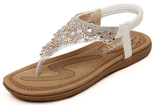 1dbe6731a Image Unavailable. Image not available for. Color  IDIFU Women s Sweet  Bohemian Rhinestone Flat Thong Sandals ...