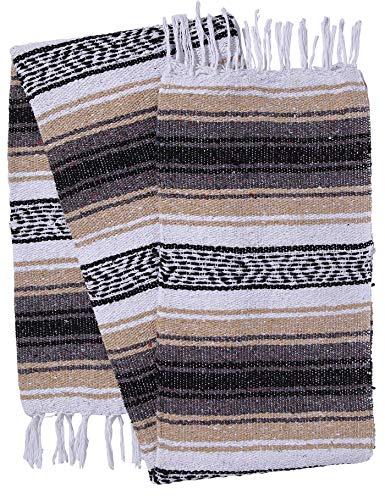 El Paso Designs Genuine Mexican Falsa Blanket - Yoga Studio Blanket, Colorful, Soft Woven Serape Imported from Mexico (Beige) by El Paso Designs (Image #3)