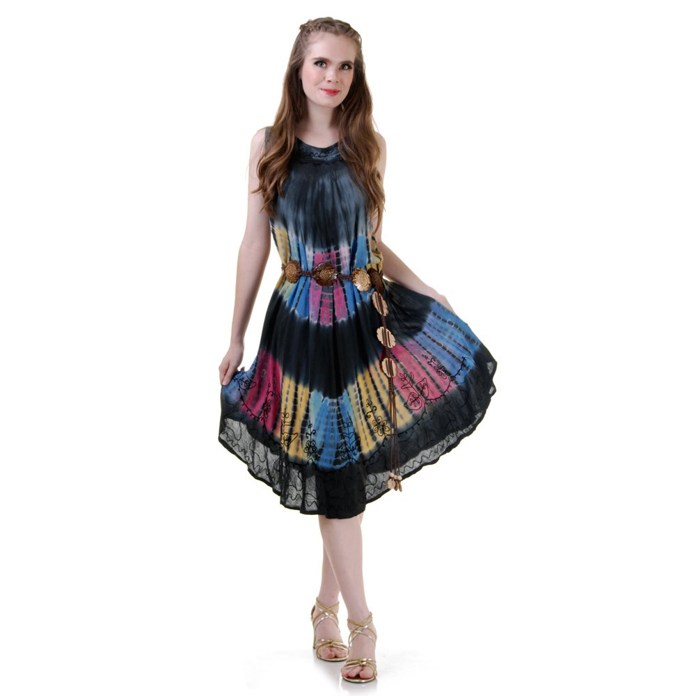 Princess of Asia Damen Hippie Batik Kleid Strandkleid Sommerkleid S M 36 38 40 42