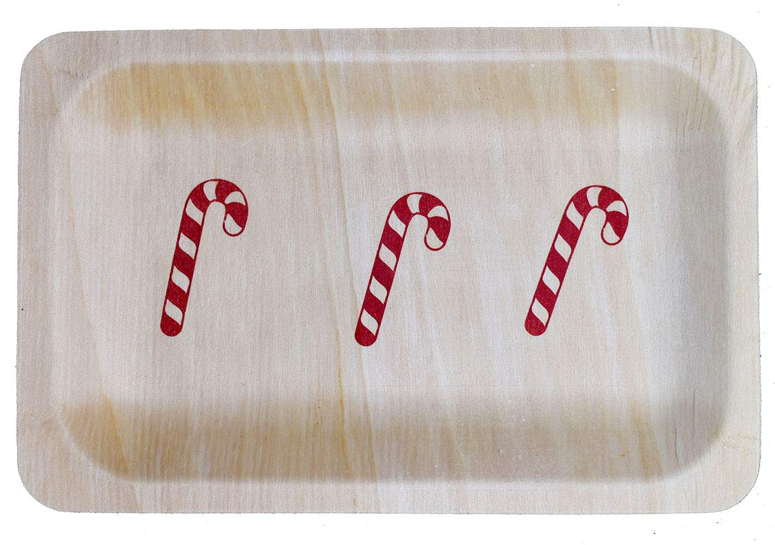 Pack of 25ct Perfetware 10-Candy Cane-25ct Candy Cane Plates 10 Perfect Stix 10 Disposable Wooden Plate with Candy Cane Print