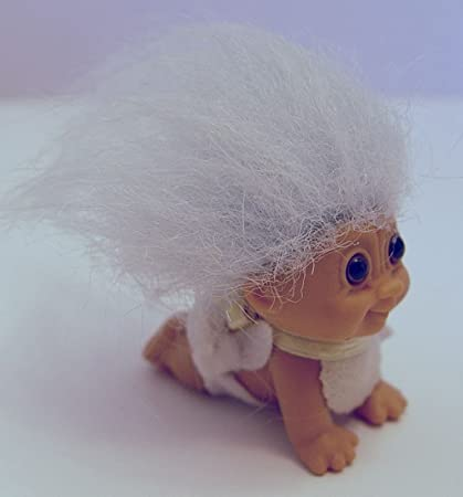"""3/"""" Russ Troll Doll NEW BABY BOY IN DIAPER WITH HIS BOTTLE"""