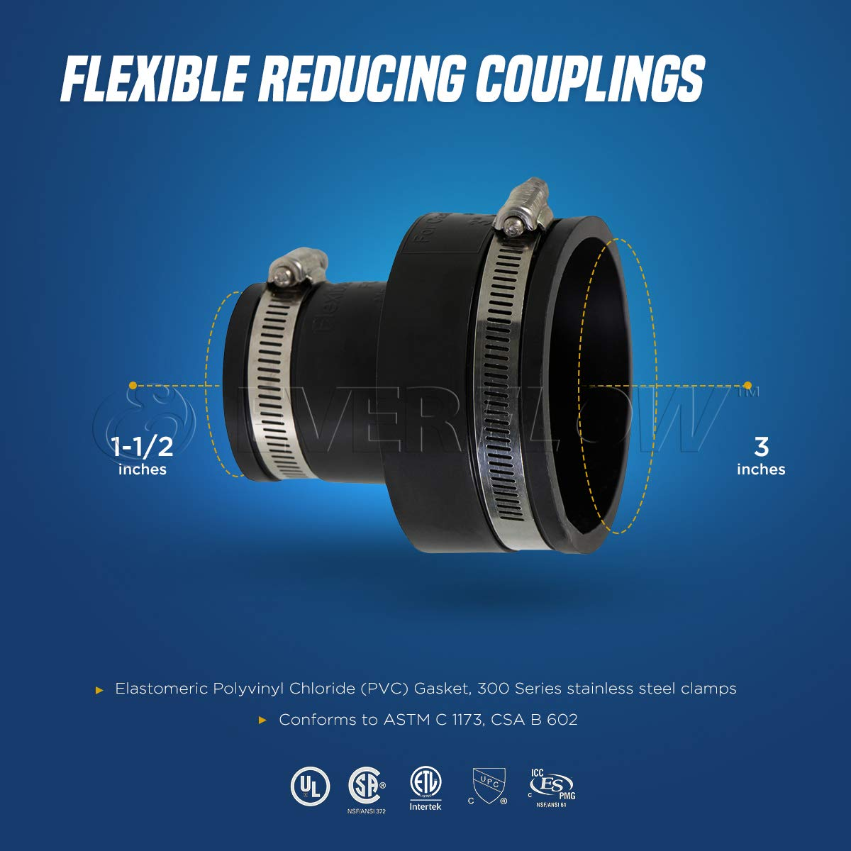 2 x 1-1//2 Inch EVERCONNECT 4831 Flexible Pvc Reducing Rubber Coupling with Stainless Steel Clamps Black