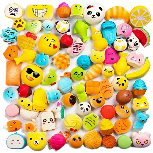 WATINC Random 20 pcs Squishys Cream Scented Kawaii Simulation Lovely Toy Medium Mini Soft Food squishys, Phone Straps (20P Donuts) -