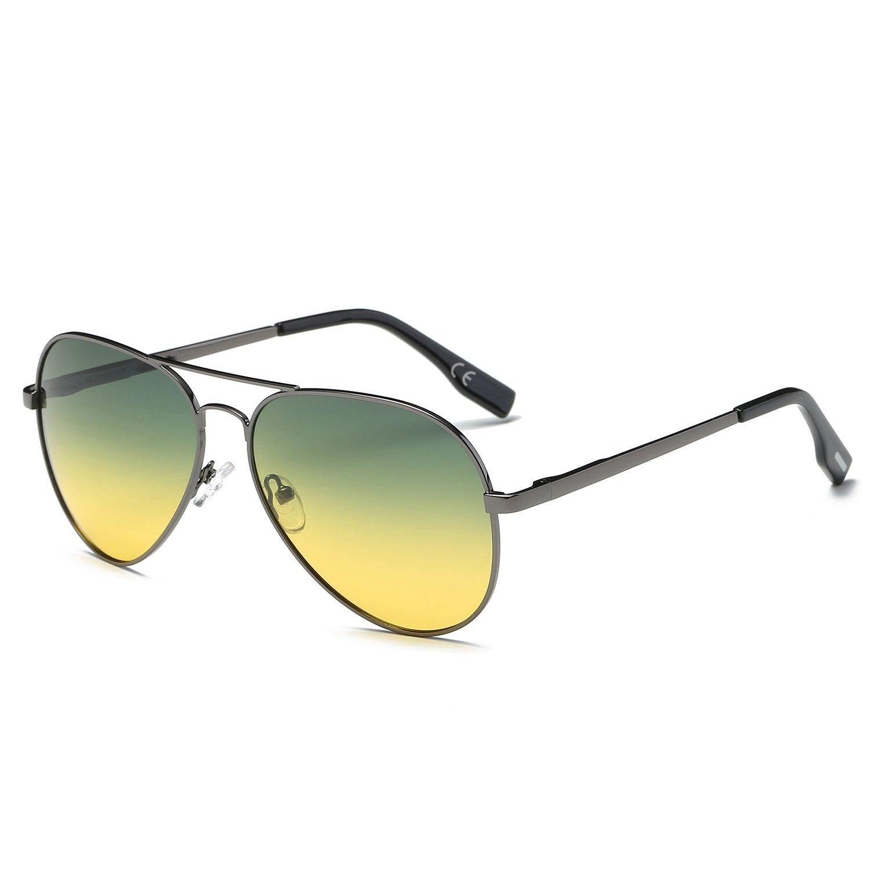 Amztm doppio ponte metallo telaio specchio Revo lenti polarizzate aviatore occhiali da sole BK-033- Silver Frame Clear-UK