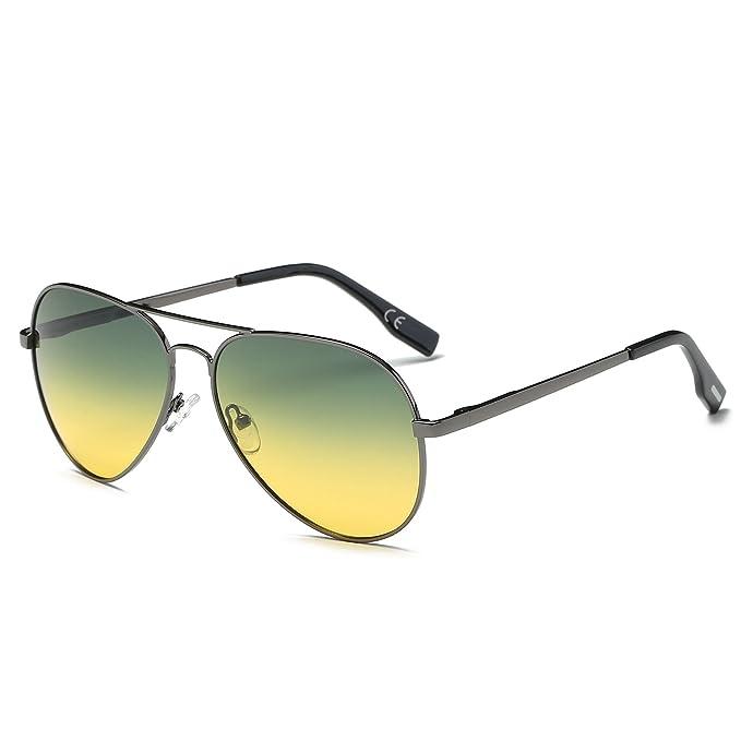 AMZTM Día Noche Conducción Clásico Moda Polarizadas Aviador Gafas De Sol De Mujer Y Hombre Puente Doble Metal Montura Gradiente Amarillo Lentes: Amazon.es: ...