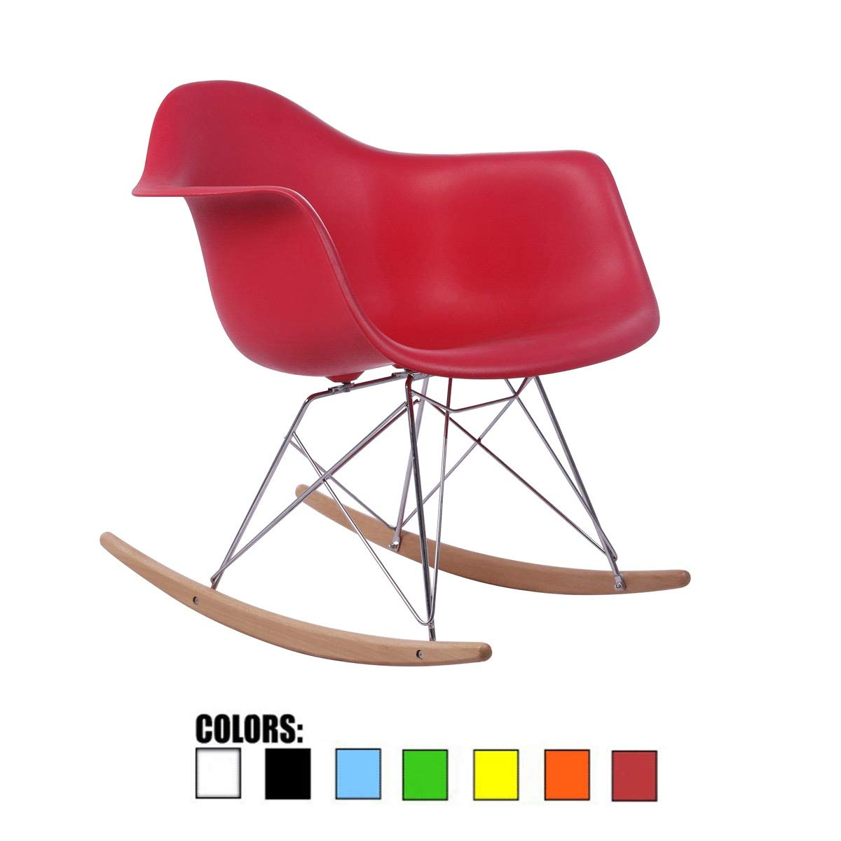 Red Rocking Chair, Creative Lazy Balcony Lounge Chair, Mid-Century Modern Contemporary Style,Plastic Accent Lounge Desk Rocker Furniture for Living Room, Outdoor Indoor Coffee Chair Bedroom Wood Legs